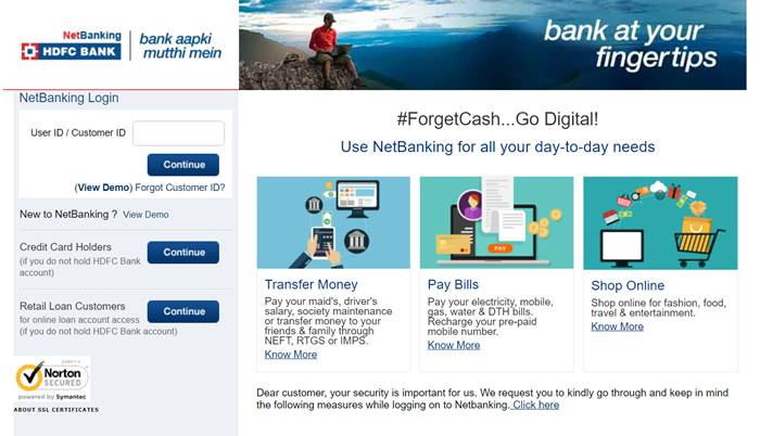 login hdfc bank net banking