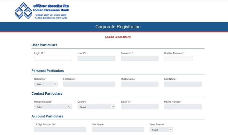 IOB net Banking registration